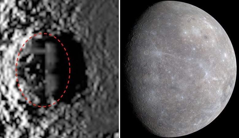 Прямоугольный объект, напоминающий строение, нашли на Меркурии