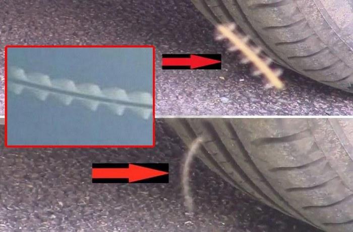 Загадочные «летающие стержни» пойманы в объектив камеры на парковке в Англии (3 фото + 2 видео)