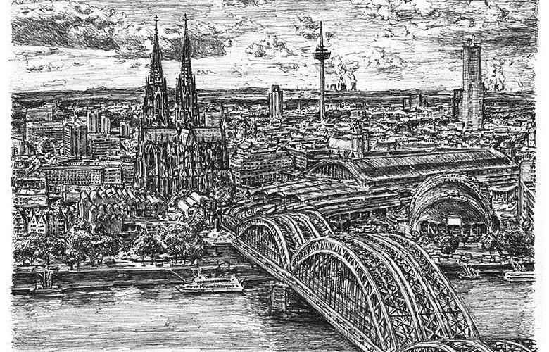 Британский художник рисует по памяти целые мегаполисы