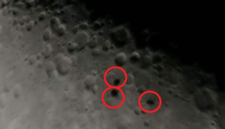 Три таинственные тени пролетели на фоне ночной Луны
