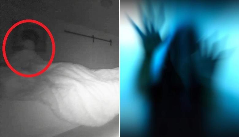 Непонятная фигура подняла одеяло на кровати мужчины и растворилась в воздухе