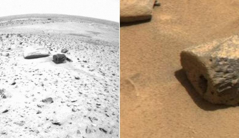 Камень с идеально ровной прямоугольной выемкой нашли на Марсе