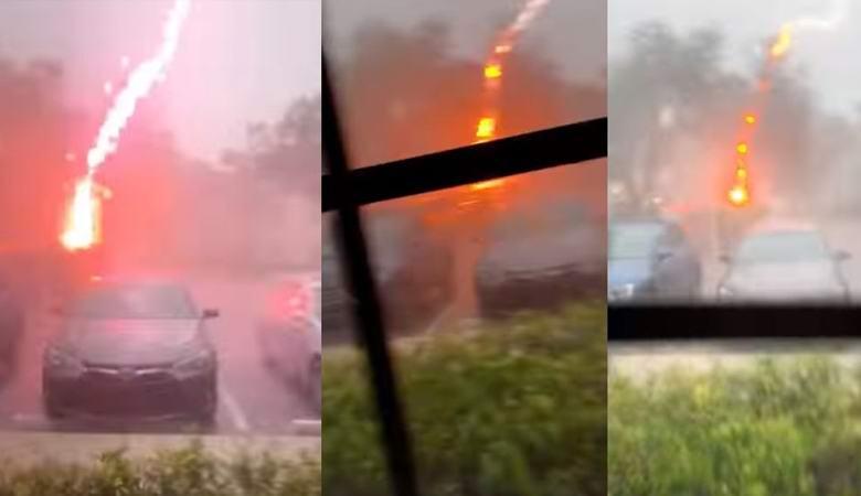 Весьма необычную молнию запечатлели во Флориде