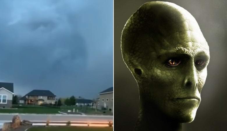 «Лицо рептилоида» возникло над городом во время грозы