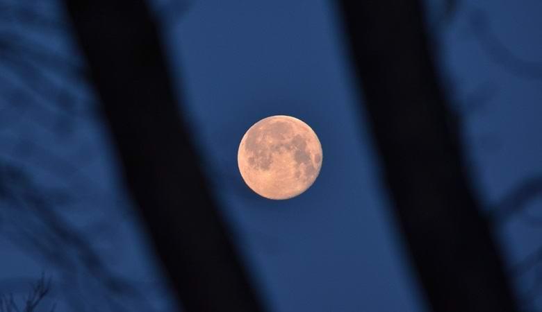 Непонятный темный объект завис на фоне луны