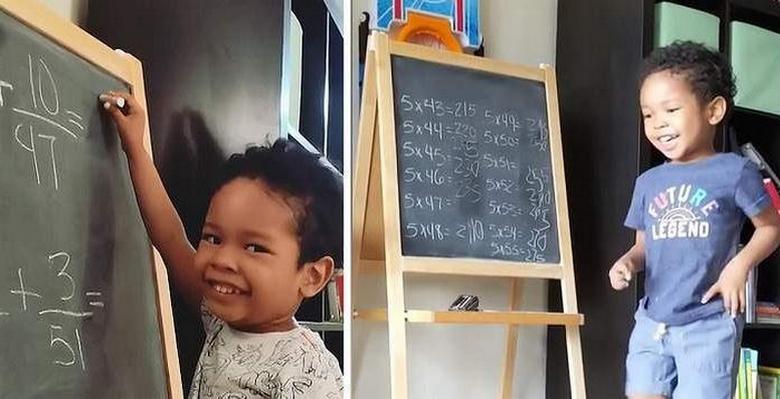 Трехлетний вундеркинд легко решает математические задачи средней школы