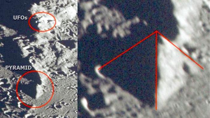 Огромную пирамиду и НЛО обнаружили на Луне