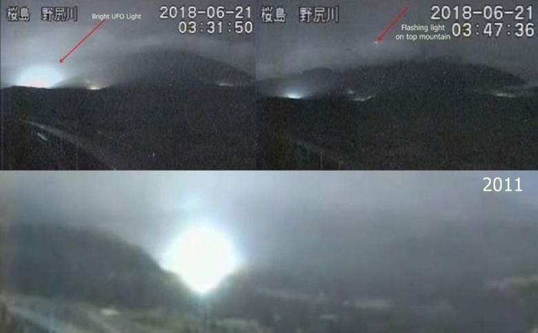 Таинственные огни над японским вулканом предвещают разрушительное землетрясение