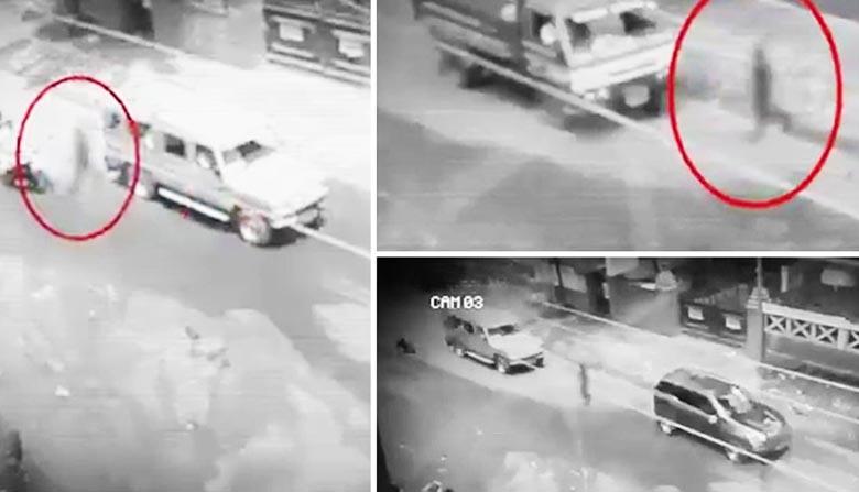 На Филиппинах в объектив камеры попала тень человека, переходящая улицу
