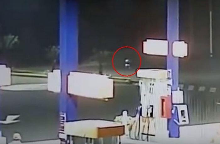 Странное существо замечено ночью возле автозаправки