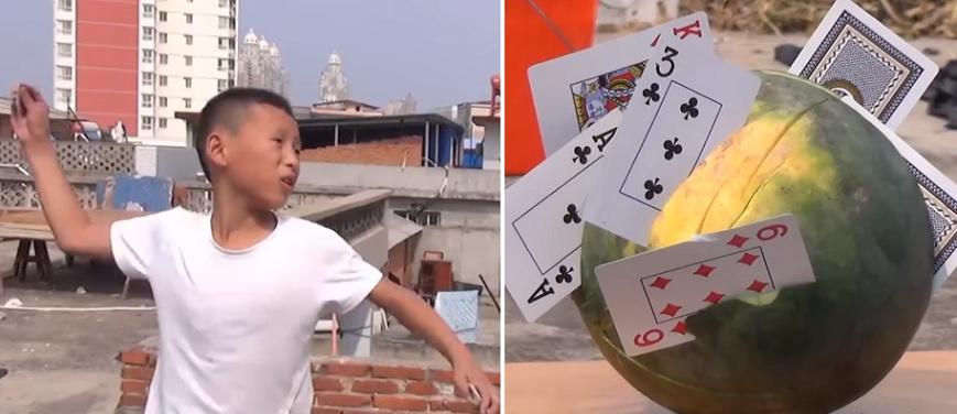 Китайский мальчик превратил в опасное оружие колоду игральных карт