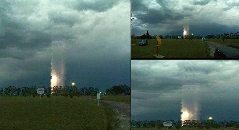 Загадочный световой столб возник над Аргентиной (2 фото)